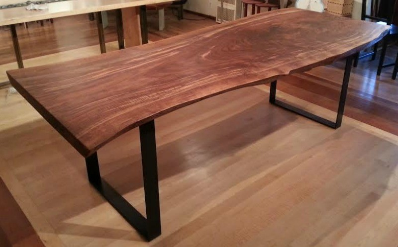 Gorgeous Live Edge Claro Walnut Slab Table