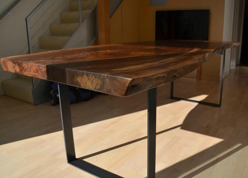 Gorgeous Live Edge Claro Walnut Slab Table Salvaging And