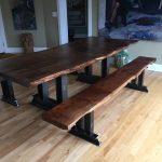 "8'x40"" Custom Black Walnut Live Edge Slab Table Top and Benches"
