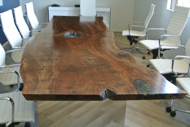 Custom 12 Claro Walnut Slab Conference Table Salvaging