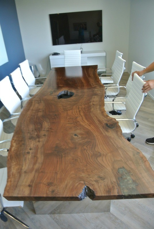 Custom 12 Claro Walnut Slab Conference Table Hardwood
