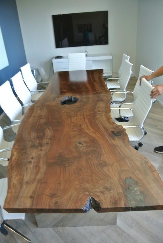 Custom Claro Walnut Slab Conference Table Hardwood Reclaiming - Wood slab conference table