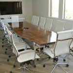 Custom 12' Claro Walnut Slab Conference Table