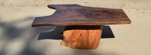 Beautiful Custom Claro Walnut Coffee with Hand Carved Cypress Stump Base