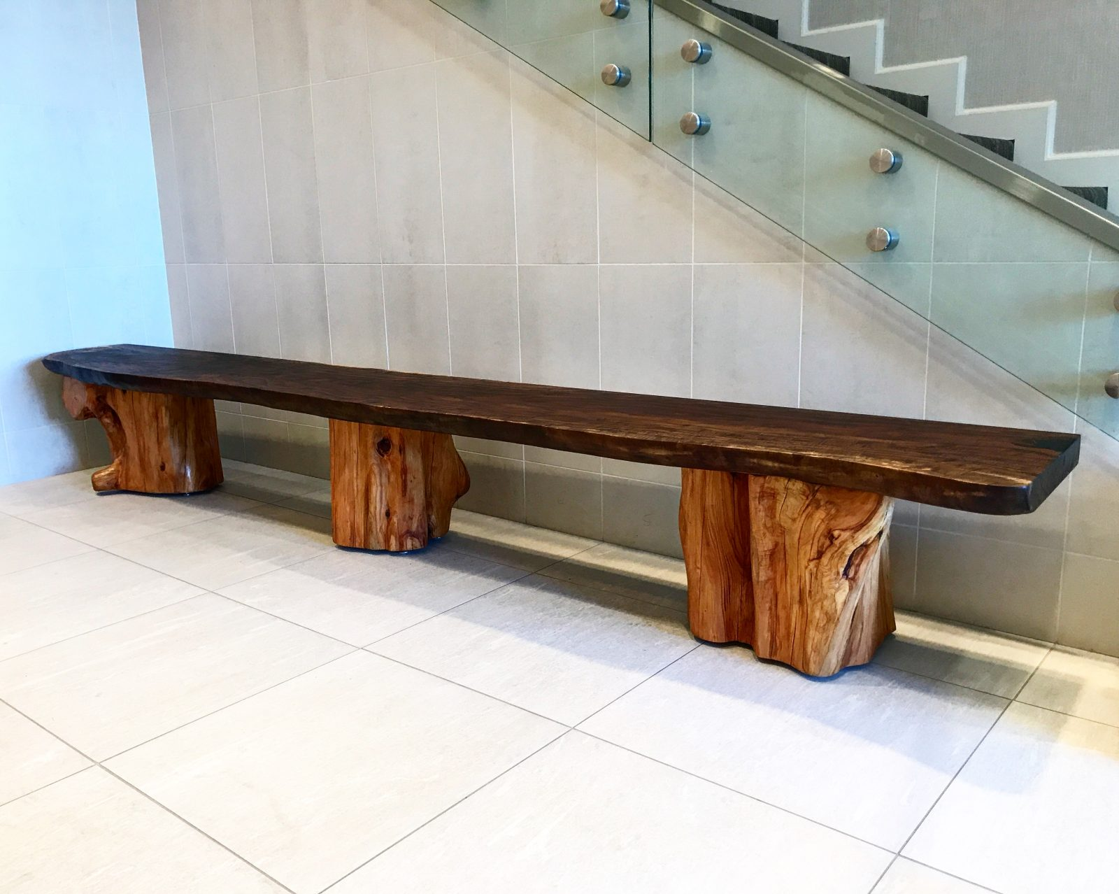 Beautiful Custom Claro Walnut Bench with Carved Cypress Bases