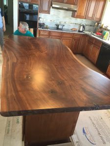 Beautiful Live Edge Claro Walnut Slab Kitchen Island Top
