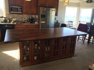 Beautiful live edge claro walnut slab kitchen island top for Live edge kitchen island