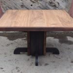 "Beautiful Custom Elm and Walnut 52""x52"" Dining Table"