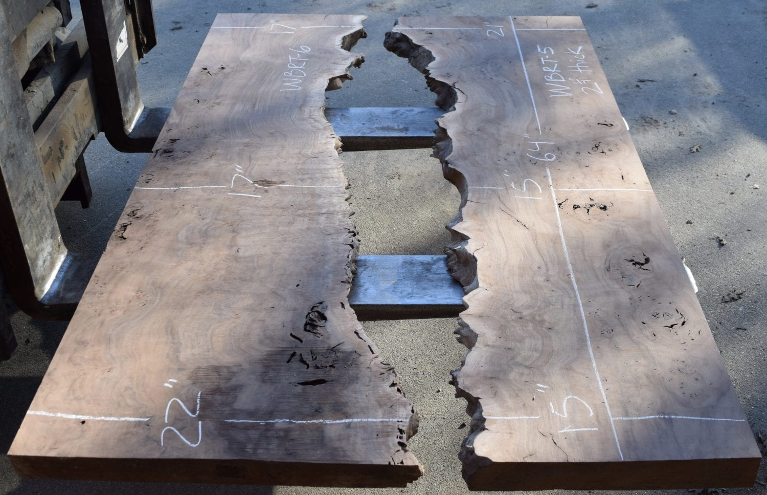 Just Listed Greg Klassen Inspired River Table Walnut Burl and Bastogne Walnut Slabs