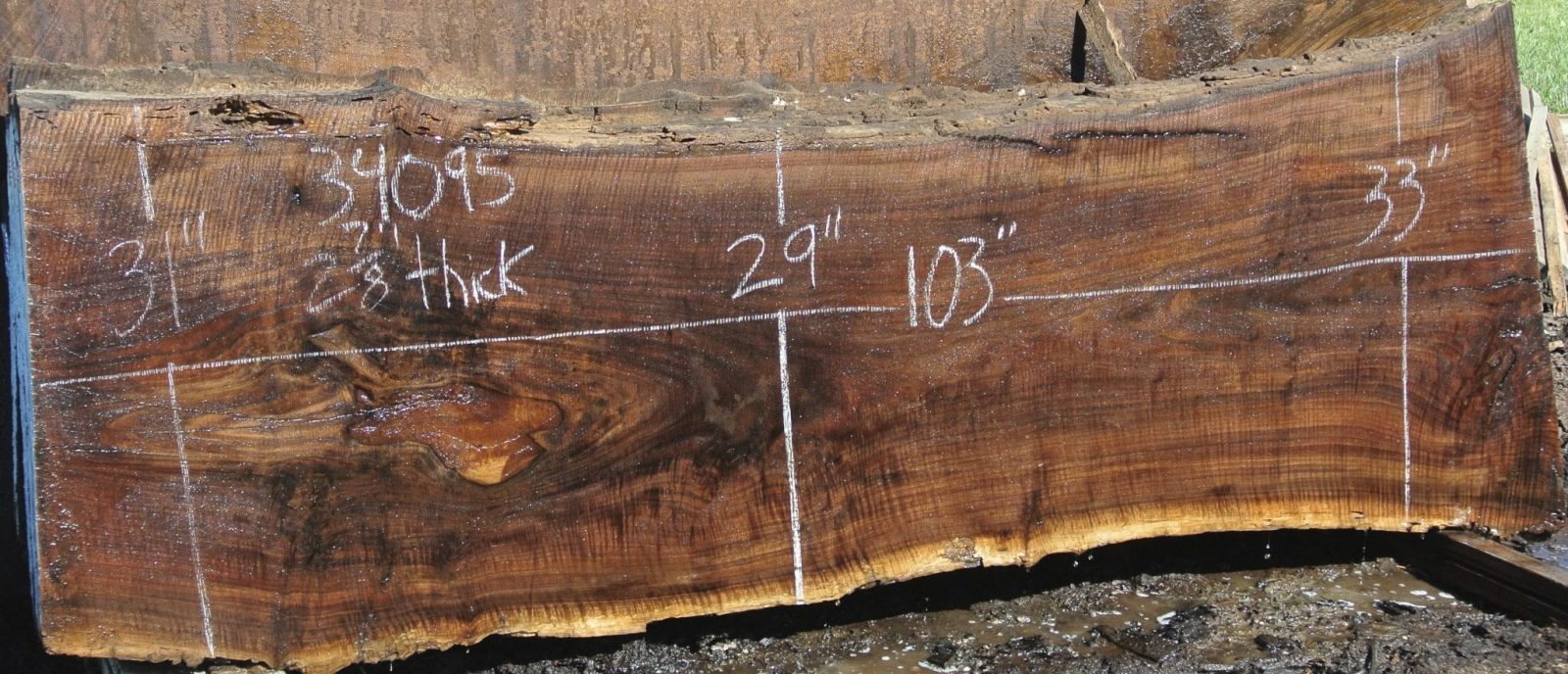 34095 Kiln Dried Figured Claro Walnut Slab 103