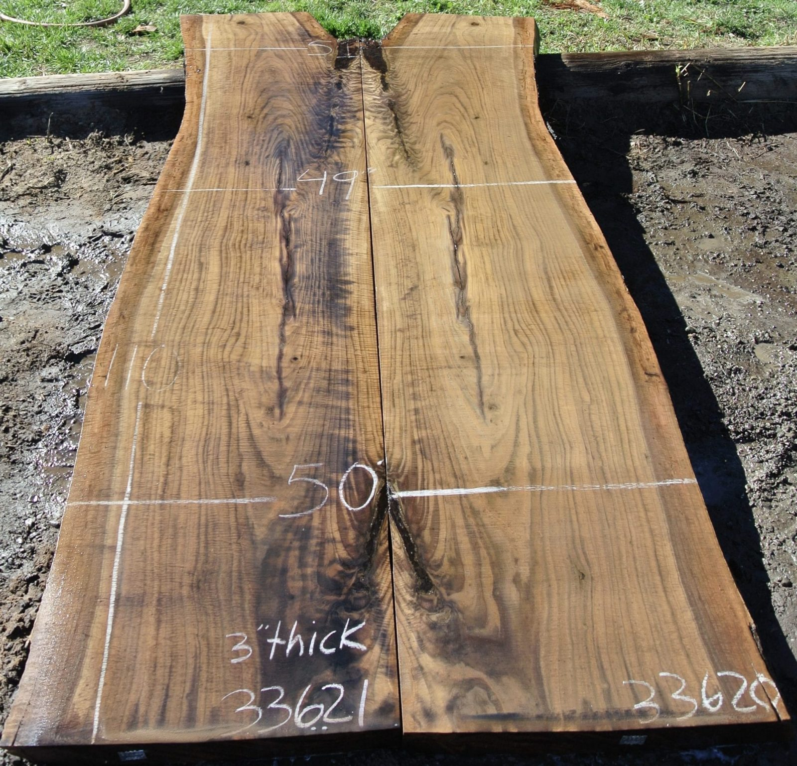 33620 Extremely Figured Claro Walnut Bookmatched Slabs 110