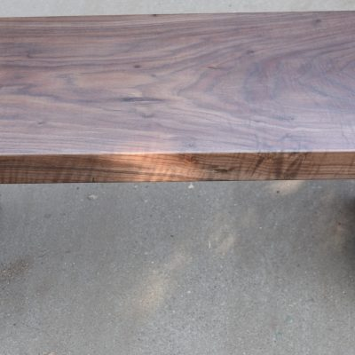 Custom Double Waterfall Claro Walnut Entryway Bench