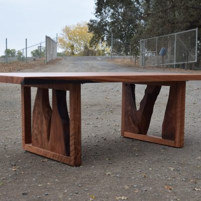 Custom One of a Kind Old Growth Redwood Table with an Amazing Base