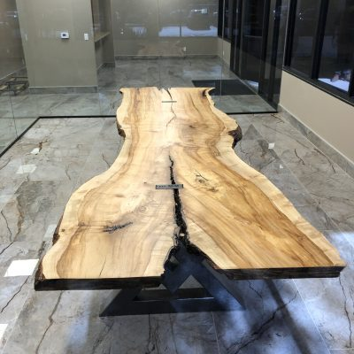 Custom 11′ Spalted Figured Maple Conference Table