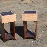 Custom Walnut and Figured Maple Side Tables