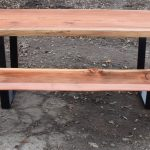 Custom 8' Redwood Dining Table with Matching Bench