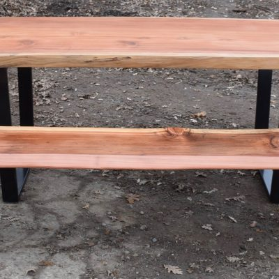 Custom 8′ Redwood Dining Table with Matching Bench