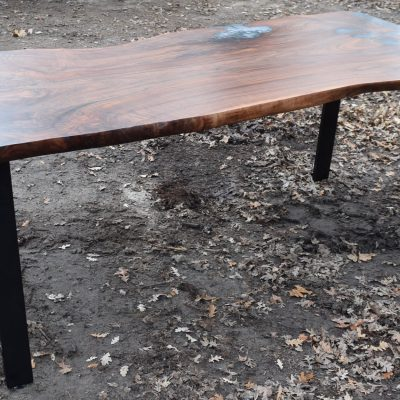 Custom Claro Walnut Dining Table with an Epoxy Pour