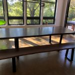 Custom Claro Walnut Dining Table with Matching Bench