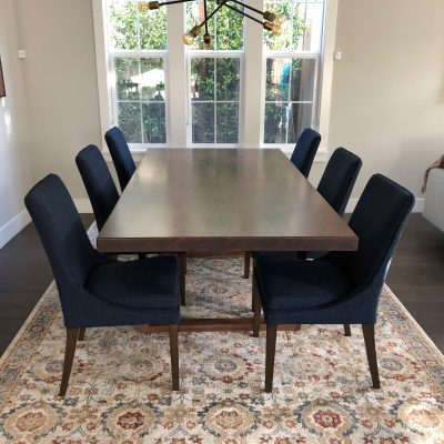 Custom Square Edge Walnut Table with Metal and Wood Legs