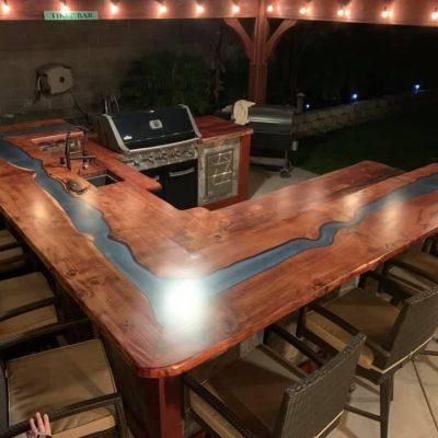 Dream Custom Redwood River Outdoor Bar Top