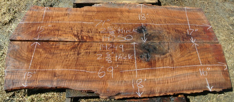 14249 Dry Bookmatched Highly Figured Claro Walnut Slabs 69